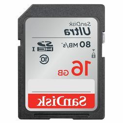 SanDisk Ultra 80MB/s 16GB Class 10 SD SDHC HC 533X UHS-I HD