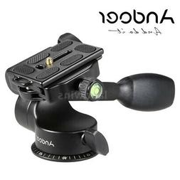 Andoer Video Tripod Ball Head Fluid Head Rocker Arm w/ QR Pl