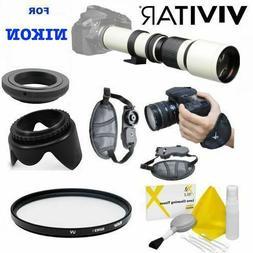 VIVITAR WHITE PRO LINE TELEPHOTO ZOOM LENS FOR NIKON D3100 D