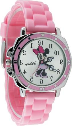 New Watch Disney Minnie Mouse KIds' MN1063 Silver Dial Pink