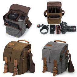 Waterproof Canvas Leather Trim DSLR SLR Camera Bag Mimi Mess