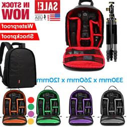 Waterproof Large DSLR  Shockproof Camera Backpack Bag Case F