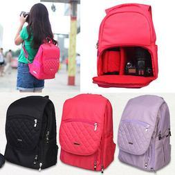 Women DSLR SLR Camera Lens Padded Bag Backpack Rucksack Trav