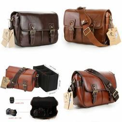 Women's Vintage PU Leather DSLR Camera Bag Padding Case Shou
