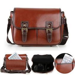 Women's Waterproof Vintage PU Leather DSLR Camera Bag Padded