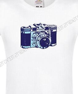 Womens-Fit Retro Vintage SLR Camera 100% Cotton XS-XXL White