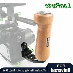 Lanparte Wooden Handle Grip Holder with Nato Rail for SLR Ca
