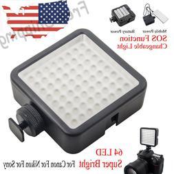 WY-64LED SLR Video Light Photo Studio Lighting For Canon Nik